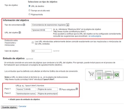 Configuración final de goal y funnel en Google Analytics