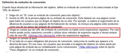 Documentacin de Google Analytics sobre los embudos de conversin