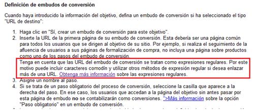 Documentación de Google Analytics sobre los embudos de conversión