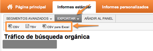 Exportar datos de informe en Google Analytics (CSV, TSV o CSV para excel)