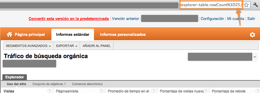 "Buscamos el parámetro ""explorer-table.rowCount en la URL de Google Analytics"