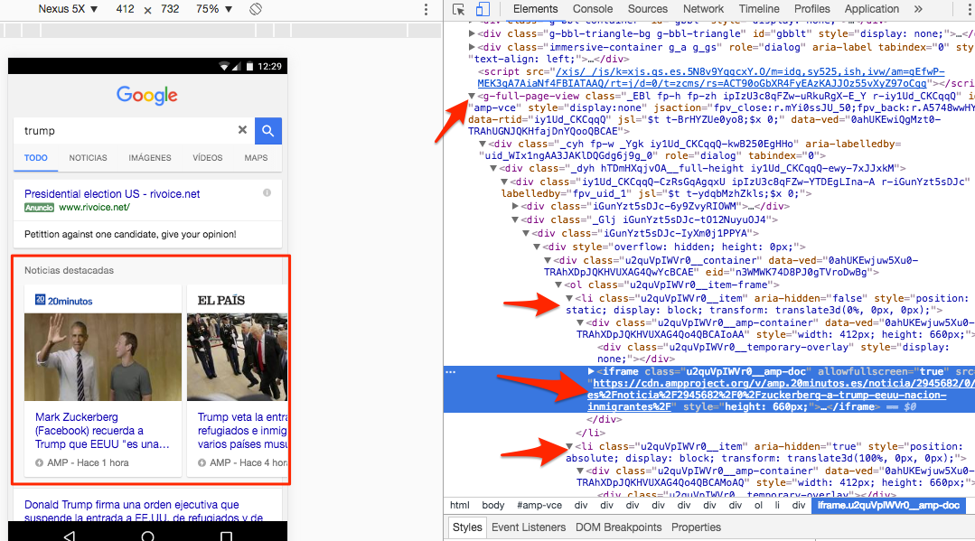 Elementos LI en Top News AMP de Google